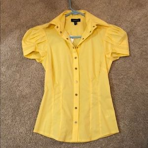 Yellow Bebe Puff Sleeve Button Down